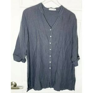 CUT LOOSE boxy top linen button down  lagenlook